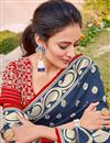 photo of Silk Fabric Traditional Wear Navy Blue Color Trendy Weaving Work Saree
