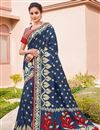 image of Silk Fabric Traditional Wear Navy Blue Color Trendy Weaving Work Saree