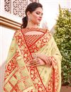 photo of Beige Color Traditional Wear Trendy Silk Fabric Weaving Work Saree