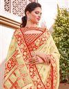photo of Wedding Function Wear Silk Fabric Trendy Weaving Work Saree In Beige Color