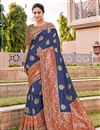 image of Traditional Wear Silk Fabric Trendy Blue Color Weaving Work Saree