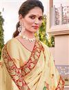 photo of Silk Fabric Trendy Wedding Function Wear Beige Color Weaving Work Saree