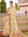 image of Silk Fabric Trendy Wedding Function Wear Beige Color Weaving Work Saree