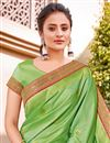 photo of Sea Green Color Wedding Function Wear Silk Fabric Trendy Weaving Work Saree