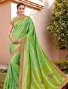 image of Sea Green Color Wedding Function Wear Silk Fabric Trendy Weaving Work Saree
