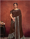 image of Brown Color Lycra Designer Saree With Border Work Designs And Enchanting Blouse