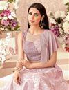 photo of Pink Color Jacquard Silk Fabric Wedding Wear 3 Piece Lehenga Choli With Embroidery Work
