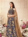 image of Blue Color Wedding Wear 3 Piece Lehenga In Jacquard Silk And Velvet Fabric With Embroidery Work