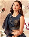 photo of Embroidered Art Silk And Lycra Fabric Navy Blue Color Festive Wear Lehenga With Embroidery Work
