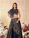 image of Embroidered Art Silk And Lycra Fabric Navy Blue Color Festive Wear Lehenga With Embroidery Work