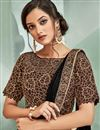photo of Embroidery Designs On Lycra Fabric Occasion Wear Ready To Wear One Minute Saree In Brown Color With Enticing Blouse