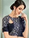 photo of Lycra Fabric Navy Blue Color Festive Wear Ready To Wear One Minute Saree With Embroidery Work And Attractive Blouse