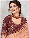 photo of Eid Special Pleasing Peach Color Party Wear Designer Art Silk Fabric Saree