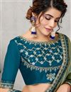photo of Eid Special Soothing Art Silk Fabric Embroidered Party Wear Sea Green Color Saree