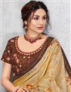 photo of Beautiful Embroidered Party Wear Designer Georgette Silk Fabric Saree In Beige Color