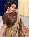 photo of Eid Special Soothing Georgette Silk Fabric Embroidered Party Wear Beige Color Saree