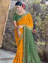 image of Mustard Color Party Wear Chic Weaving Work Viscose Fabric Saree