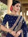 photo of Party Wear Chic Viscose Fabric Blue Color Weaving Work Saree