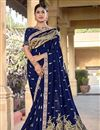 image of Party Wear Chic Viscose Fabric Blue Color Weaving Work Saree