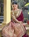 photo of Wine Color Party Wear Chic Viscose Fabric Weaving Work Saree