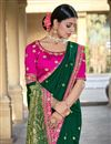 photo of Party Wear Viscose Fabric Chic Dark Green Color Weaving Work Saree