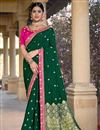 image of Party Wear Viscose Fabric Chic Dark Green Color Weaving Work Saree