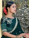 photo of Party Wear Chic Viscose Fabric Weaving Work Teal Color Saree