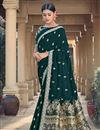 image of Party Wear Chic Viscose Fabric Weaving Work Teal Color Saree