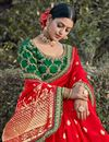 photo of Party Wear Chic Viscose Fabric Weaving Work Saree In Red Color