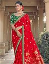 image of Party Wear Chic Viscose Fabric Weaving Work Saree In Red Color