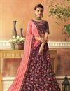 image of Eid Special Embroidered Burgundy Bridal Lehenga In Art Silk Fabric with Designer Choli