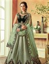 image of Green Art Silk Fabric Reception Wear Lehenga Choli With Embroidery Work
