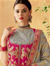 photo of Eid Special Brocade Fabric Dark Beige Wedding Wear 3 Piece Lehenga Choli With Embroidery Work
