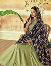 photo of Eid Special Sea Green Designer Bridal Lehenga With Embroidery Work On Art Silk Fabric