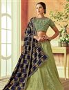 image of Eid Special Sea Green Designer Bridal Lehenga With Embroidery Work On Art Silk Fabric