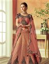 image of Embroidered Reception Wear Lehenga Choli In Salmon Color Art Silk Fabric