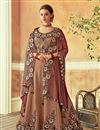 image of Embroidery Work On Art Silk Fabric Designer Lehenga In Brown With Blouse