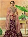 image of Art Silk Fabric Wedding Wear 3 Piece Lehenga In Wine With Embroidery Work