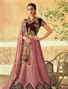 image of Embroidery Work On Pink Art Silk Fabric Occasion Wear Lehenga