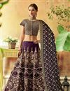 image of Art Silk Fabric Purple Sangeet Wear 3 Piece Embroidered Lehenga With Enigmatic Blouse
