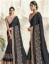 image of Georgette Silk Fabric Party Wear Embroidery Work Saree In Black Color