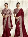 image of Maroon Color Georgette Silk Fabric Festive Wear Embroidery Work Saree