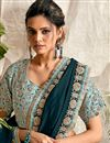 photo of Teal Color Georgette Fabric Function Wear Embroidery Work Saree