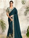 image of Teal Color Georgette Fabric Function Wear Embroidery Work Saree
