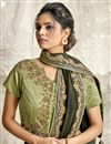 photo of Olive Color Party Wear Embroidery Work Saree In Crepe Silk Fabric