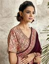 photo of Crepe Silk Fabric Designer Embroidery Work Saree In Burgundy Color