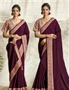 image of Crepe Silk Fabric Designer Embroidery Work Saree In Burgundy Color