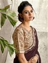 photo of Function Wear Brown Color Embroidery Work Saree In Crepe Silk Fabric