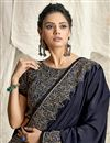 photo of Designer Navy Blue Color Georgette Silk Fabric Party Wear Embroidery Work Saree