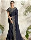 image of Designer Navy Blue Color Georgette Silk Fabric Party Wear Embroidery Work Saree